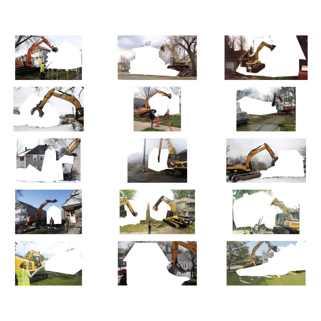 Photo montage of home demolition in Detroit. Part of Spatial Filler project by Jonathan Hanna.